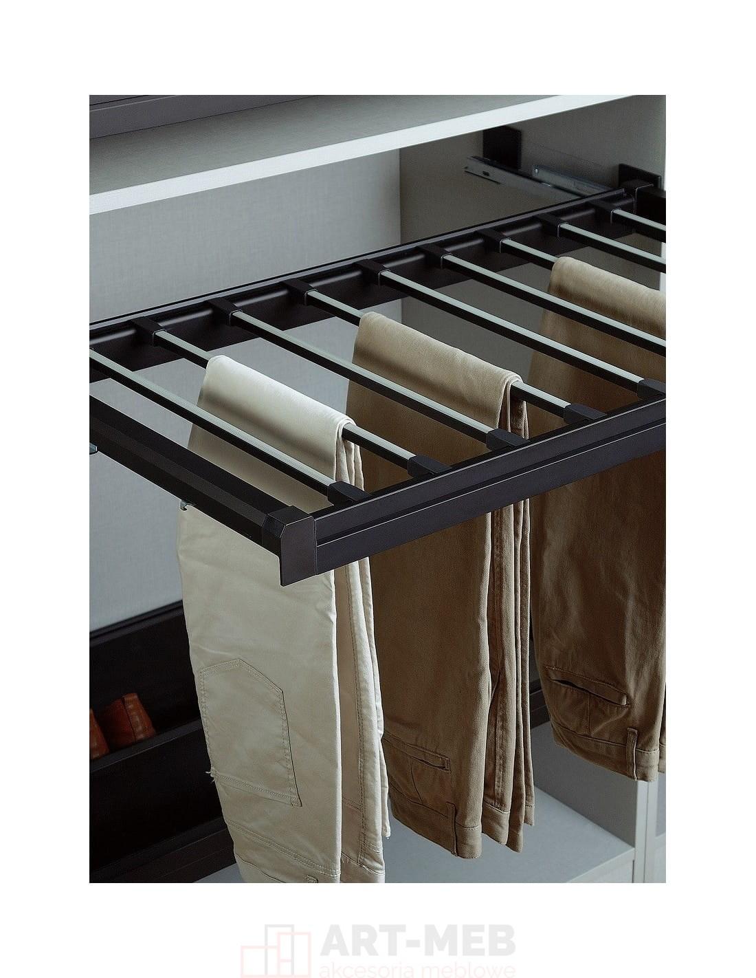 Półka wieszak wysuwny ELIS na spodnie biały 900mm